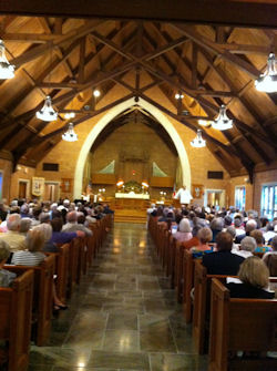 Interior of Christ Church, well attended service