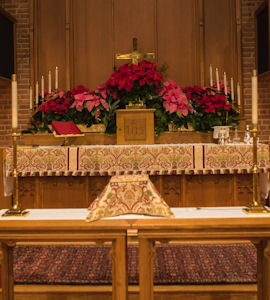 Christ Church alter decorated for Christmas