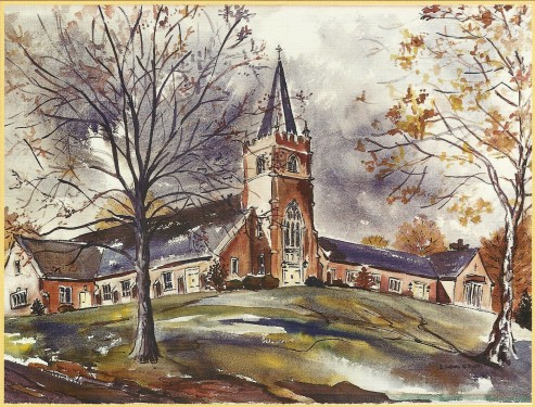 Watercolor of Christ Church building by Elizabeth Hayes Pratt